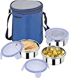 Jaipan 3 PCS Air Tight & Leak Proof Hot Tiffin (1333) with Special Cushion Pouch