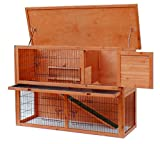 Merax-Pet-Small-Animals-Rabbit-Bunny-Wood-House-Hutch-with-ABS-Tray-Natural-Color