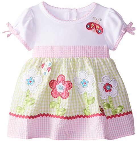 Youngland Baby-Girls Newborn Flower Applique Seersucker Dress