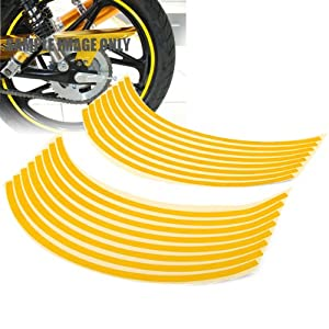 "8mm Yellow Reflective Rim Tape Wheel Stripe Decal Trim For Motorcycle Car 16""17""18"""