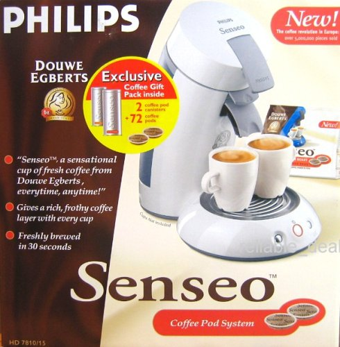 Philips Senseo Coffee Pod maker System with 72 coffe pods and 2 coffee pod canisters HD 7810 White Color
