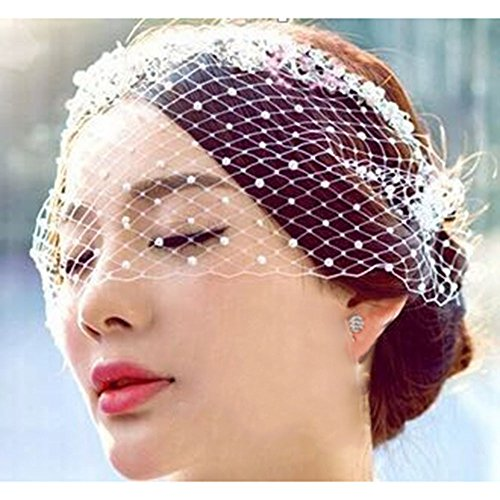 KAKA(TM) Wedding Party Pearl Face Veil Headwear Bridal Veil (Lg G Pro E986 compare prices)