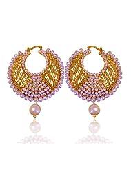 Adiva White Fabulous Golden Pearl Polki Bali With Jali Work Copper Clip-On Earrings For Women
