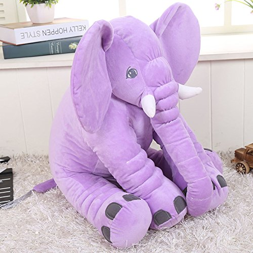 KiKi Monkey 24 inch Large Elephant Pillow Toys Baby Toddler Kids Accompany Pillows Cushions Doll Friends Children Birthday Gift Toys (Purple)