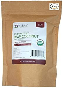 Blue Lily Organics Raw Unsweetened Fine Shredded Coconut - 2 Pack (2 Lb) - Certified Organic