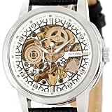 Alienwork Ouyawei mechanische Automatikuhr Skelett Automatik Armbanduhr Uhr Leder weiss schwarz OS.OYW1302-02