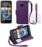 The Friendly Swede Basics - PU Leather Stand Wallet Case Cover for HTC One M7 Only + Matching Stylus + Screen Protector + Cleaning Cloth (Purple)