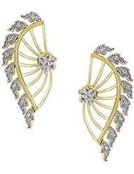 Parijaat Designer Gold Plated CZ Cuff Earrings For Women(FT46).