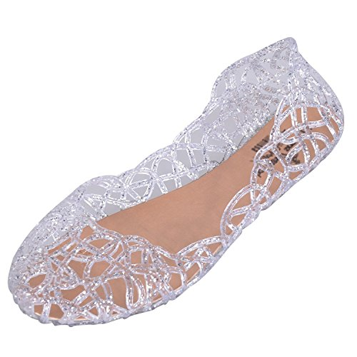 EGELEXY Womens Slip On Ballet Flats Jelly Mesh Flat Sandals US 8.5 Sliver