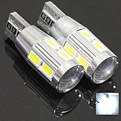 See Best Ridiculously Bright White Canbus Error Free T10 Samsung Projector 10 LED Light Bulbs Auto Replacement Lighting With Aluminum Heat Sink White Super Bright Car Light Bulb 194 168 147 152 158 159 161 184 192 193 2881 2825 L156 Details