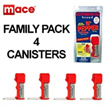 Genuine MACE® Brand Defense Pepper Spray~80171~FAMILY PACK of 4 Canisters~Pocket Model 10% PepperGard®~Police Strength~Read the FACTS About Defense Spray Strength and Quality!~(PLEASE See Shipping Restrictions Before Ordering)
