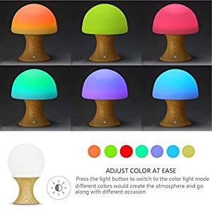Welltop Multicolor LED Night Light Silicone Mushroom Nursery Children Nightlight Dimmable Timer Mood Lamp with Warm White & 7 Colorful Light Modes, USB Rechargeable Table Lamp for Baby Adults Bedroom by Welltop
