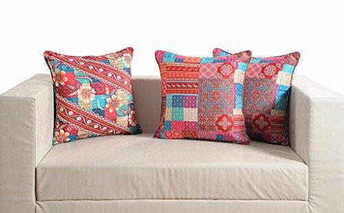 "Swayam Deco Digitally Printed 2 Piece Faux Silk Cushion Cover Set - 16""x16"", Multicolor"