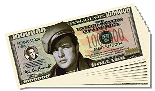 Marlon Brando Million Dollar Bill - 25 Count with Bonus Clear Protector & Christopher Columbus Bill