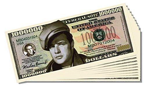 Marlon Brando Million Dollar Bill - 10 Count with Bonus Clear Protector & Christopher Columbus Bill