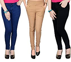 Zrestha Blue & Black Jean With Jegging Combo For Women's