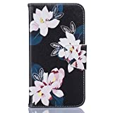 Samsung Galaxy J5 Case [With Tempered Glass Screen Protector],Fatcatparadise(TM) Anti Scratch Flip Soft Silicone Back Cover Case ,Stylish Printed Cute Colorful Pattern Magnetic Detachable Premium PU Leather Folio Book stytle Credit Card Holder [with Lanyard Strap/Rope] Wallet Embedded Case Cover For Samsung Galaxy J5(Black Lily)