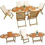 13-tlg-Sitzgruppe-Gartenmbel-Set-Holzmbel-Essgarnitur-Holz-Sitzgarnitur-Akazie-gelt-6x-verstellbarer-Klappstuhl-1x-ausziehbarer-Klapptisch-6x-Sitz-Auflagen-creme-weiss