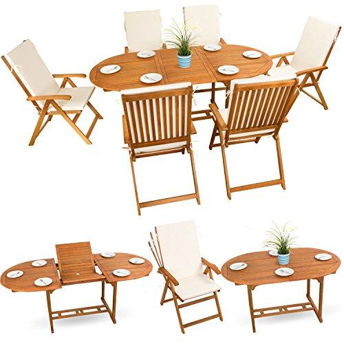 13-tlg-Gartenmbel-Set-Sitzgruppe-Holzmbel-Essgarnitur-Holz-Sitzgarnitur-Akazie-gelt-6x-verstellbarer-Klappstuhl-1x-ausziehbarer-Klapptisch-6x-Sitz-Auflagen-creme-weiss