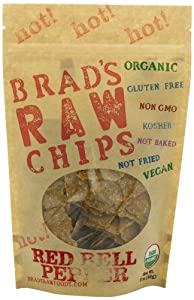 3oz Hot! Red Bell Pepper Flavor - Famous Brads Raw Chips - Vegan, Gluten Free, Natural, Healthy Snack