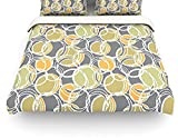 Kess InHouse Julia Grifol Simple Circles in Grey Twin Cotton Duvet Cover, 68 by 88-Inch