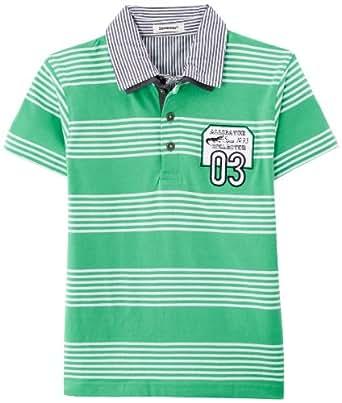 3 Pommes Boy's POLO RAYE Polo Shirt  - Green - Vert (Vert Pomme) - 4 years (Brand size:  4 ans)