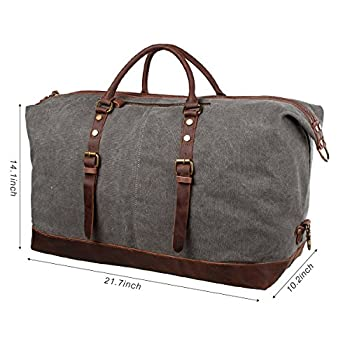 S-ZONE Oversized Canvas Leather Trim Travel Tote Duffel Bag For Mens 2