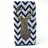 iPhone 5S Case, JCmax Premium Deer Pattern Flip Wallet Case with Stand Function for Apple iPhone 5 5S - Blue