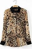 (プレクラースナ)おしゃれ セクシー 欧米 スタイル 襟 袖 色合わせ ワンポイント 付き 豹柄 レディース 長袖 シャツ (M) オリジナル 手提げ袋 セット