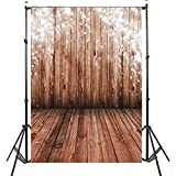 Mohoo 5x7ft Silk Photography Background Nostalgia Wood Floor Pattern Photography Backdrop Studio Props (Updated Material)