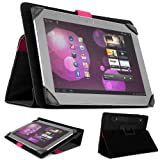 SOHO Portfolio Stand - Nylon Detachable Flip Cover Case (PINK MAGENTA) for Asus Transformer Pad 10.1 Tablets (TF300TL TF300T TF700T TF101) + Matching Pink Handsfree Earphone /Microphone Headphones