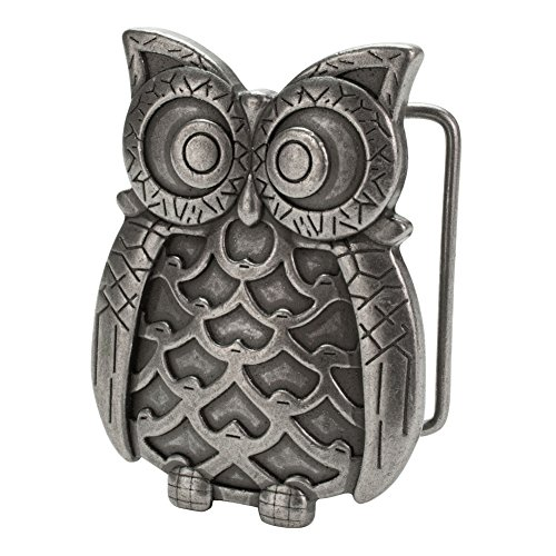Buckle Rage Womens Perched Owl Hoot Animal Antique Silver Girly Belt Buckle