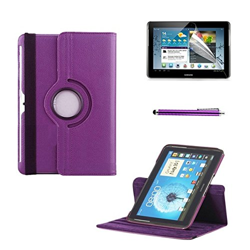 [2014 New Arrival] Icrown (Tm) Free Shipping 360 Degree Rotating Samsung Galaxy Tab 2 10.0 P5100 Top Pu Leather Smart Cover Case With Stylus Pen And Screen Protector, Purple