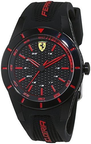 Scuderia Ferrari Orologi 0840004, Orologio da polso da uomo, al quarzo, analogico, rosso, in silicone
