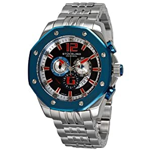 Stuhrling Original Men's 181CR.332U64 Nautilus Swiss Quartz Chronograph Blue Bezel Watch