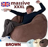 Huge Brown Mega Size Bean Bag 16cuft Beanbag Gaming Chair Faux Suede by BEAUTIFUL BEANBAGS LTD