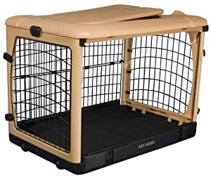 Pet Gear The Other Door Steel Crate with Fleece Pad for cats and dogs up to 90-pounds, Tan