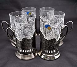 Combination 6 Russian CUT Crystal Drinking Tea Glasses W/metal Glass Holders 'Podstakannik' for Hot or Cold Liquids