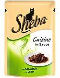 Sheba Cuisine Katzenfutter Zarte Streifen mit Kaninchen in Sauce, 12 Beutel (12 x 85 g)