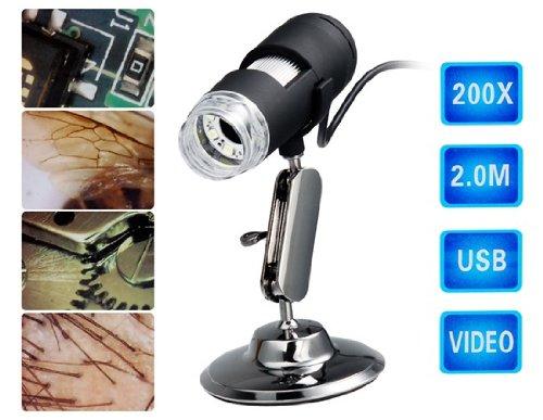 200X 2.0Mp Usb Digital Microscope (Black)