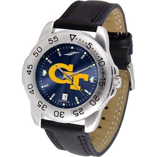 Suntime Georgia Tech Yellowjackets Ncaa Anochrome Sport Mens Watch Leather Band