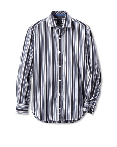 TailorByrd Men's Vermouth Barcode Striped Long Sleeve Spread Collar Sportshirt