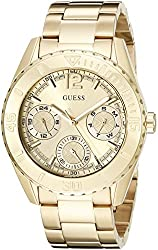 GUESS Women's U0633L1 Sporty Gold-Tone Watch with Multi-Function Dial