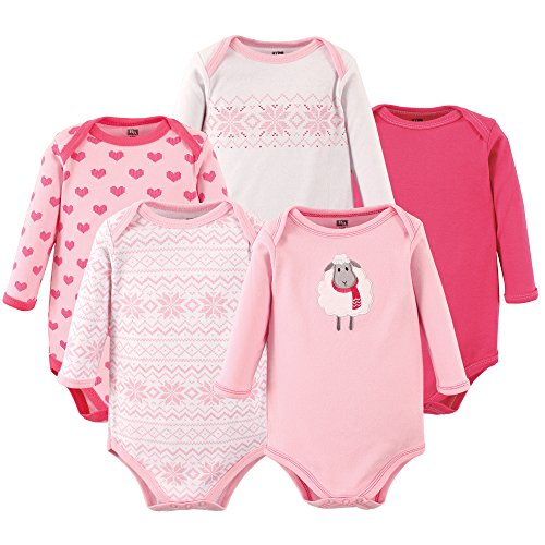 Hudson Baby Long Sleeve Bodysuits 5PK, Sheep, 3-6 Months