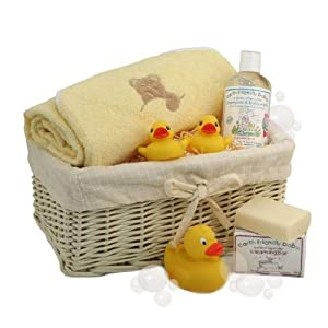 Baby Bath Time Gift Basket Yellow - New Baby Gifts