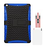 DMG Hybrid Kickstand Case For Apple IPad Air (Blue-Black) + AUX Cable + Matte Screen