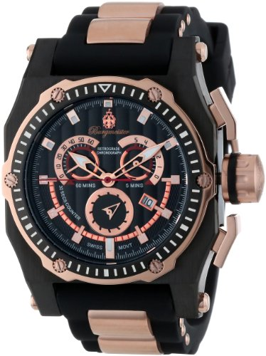 Burgmeister Men's Quartz Watch with Black Dial Chronograph Display and Black Silicone Strap BM157-622A