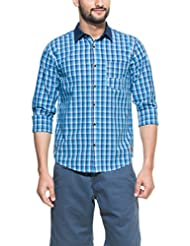 Zovi Men's Cotton Slim Fit Casual Blue And White Checkered Shirt With Denim Collar (11654400801)
