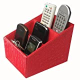 KINGFOM? 3 Slot PU Leather Desk Remote Controller Holder Organizer; Home Sundries Storage Box; TV Guide/Mail/CD Organizer/Caddy/Holder with Free Cable Organizer (Croco Red)