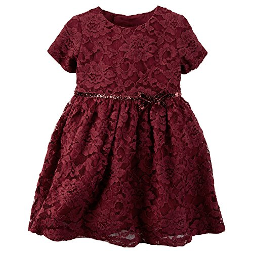Carter's Baby Girl's Maroon Red Lace Sparkle Bow Special Occassion Dress (3 Months)